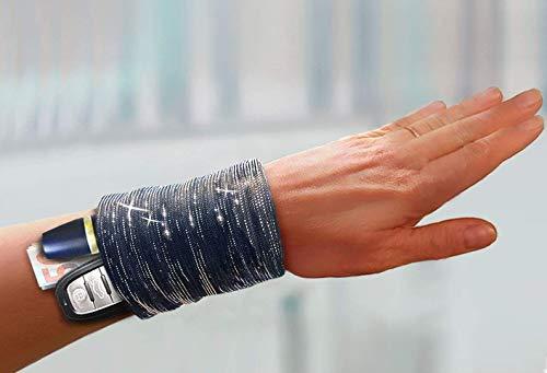 elegante schwarze Armbandtasche mit silbernem Glitzer – edle mini Tasche fürs Handgelenk - schickes Geldversteck beim Tanzen Sport Festival Urlaub Tanztasche Armtasche Geldbörse Portemonnaie Damen