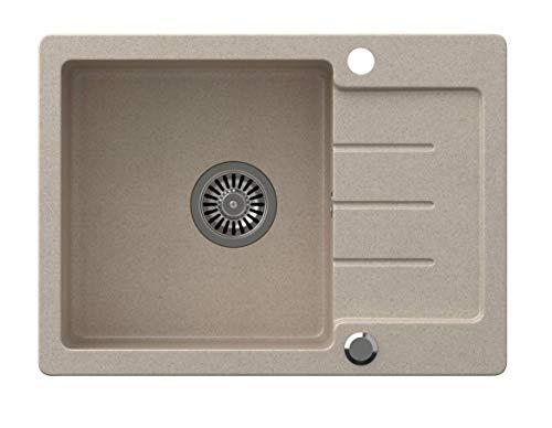 VBChome Spülbecken Beige 60 x 44 cm Granit Einzelbecken Einbauspüle gesprenkelt reversibel Verbundspüle + Siphon Waschbecken