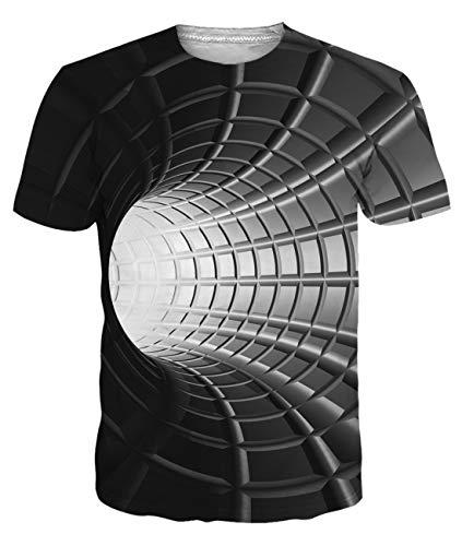 uideazone Camiseta de manga corta para hombre con estampado 3D y cuello redondo BlackA. XXL