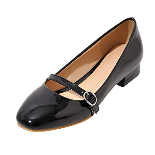 Best Prices! Women Pumps Shoes Bright Leather Slip-on Square-Toed Sandals Ladies Solid Buckle Strap ...