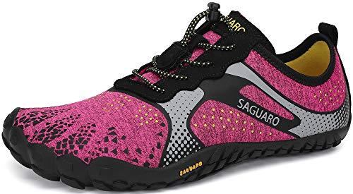 SAGUARO Mujer Minimalistas Zapatillas de Trail Running Ligeras y Respirable Zapatos Descalzos Gym Playa Calzado de Deportes Acuaticos para Asfalto Correr Senderismo, Rosa 38 EU