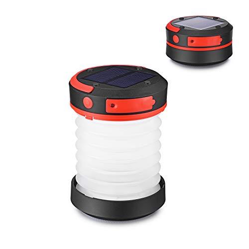 Tumax LED Campinglampe Solar Campingleuchte Camping Zelt Laterne Wasserdicht Faltbar Tragbar Zusammenklappbar Taschenlampe mit SOS und Power Bank Funktion, mit USB und Solarpanel aufgeladen