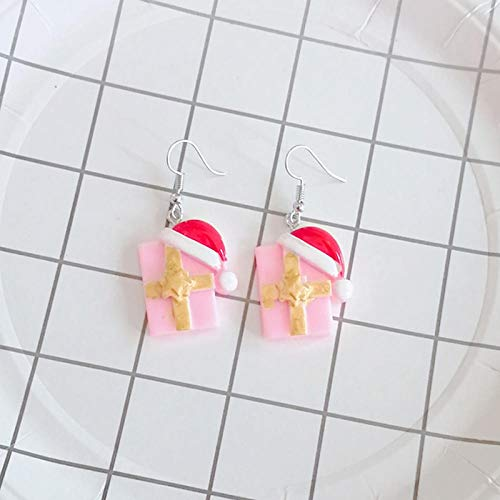 ESCYQ Christmas Earrings Jewellery,Xmas Gift Christmas Hat Design Pendant Fashion Creative Simple Ornament New Year Festival Party for Women Earrings Jewelry Gift