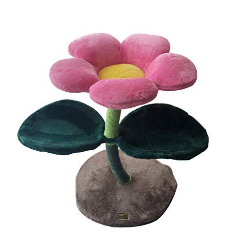 HHXXTTXS Haustier-Bett Das Glück der Katze ist so bunt wie Blumen-Katzenturm-Farben-Blumen-Kratzbaum-Kratzbaum so niedlich