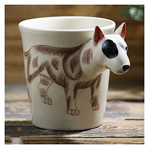 YUANLIN porzellantasse 3D Stereo Bull Terrier Keramikbecher Hand Gezeichnete Tier Kaffeetasse Nette Cartoon Tasse Kaffeetassen Kreative lustige Tassen Geschenk porzellantasse Bone China