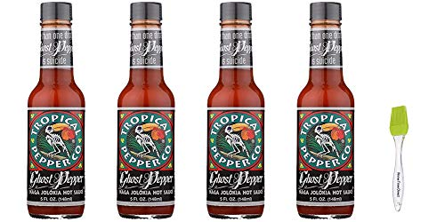 Tropical Pepper Hot Ghost Pepper Sauce, 5 oz (Pack of 4) Bundled with PrimeTime Direct Silicone Basting Brush in a PTD Sealed Bag
