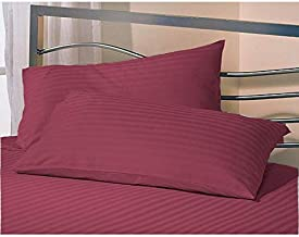 AVI Set of 2 Sateen Striped Cotton 300 TC Pillow Cover, Wine (20 * 36in)