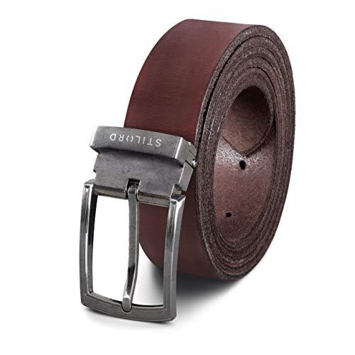 STILORD Cinturón Hombre Mujer Cuero Vintage de Vestir Casual o Para Vaqueros Acortable, Color:cresto - marrón   Hebilla plateada - antigua I, tamaño:Universal 80-130 cm