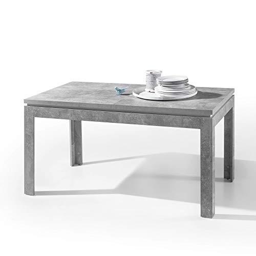 STONE Esstisch in Beton Optik passend zum Couchtisch - Ausziehbarer Esszimmertisch für Ihr Wohn- & Esszimmer - 140-180 x 76 x 80 cm (B/H/T)