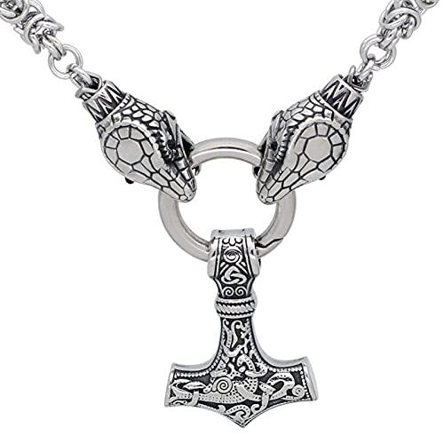 QLJYT Collar con Colgante de Cadena de Jörmungandr Mjolnir de Acero Inoxidable Hecho A Mano Vikingo,50cm