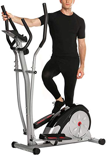 MLZHP Elliptical Cross Trainers Exercise Machines for Home with LCD Monitor and Pulse Rate...