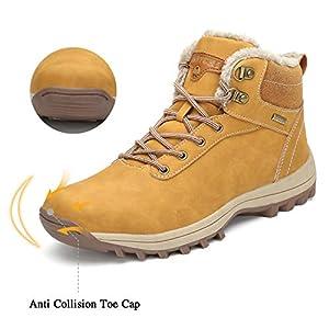 Men's Women's Snow Shoes Fur Lined Warm Water Resistant Anti-Slip Winter Ankle Hiking Boots Khaki 8 Women/6.5 Men