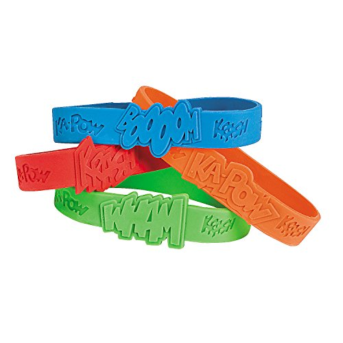 Fun Express Superhero Saying Rubber Bracelets (24 Pieces) Classroom Incentives, School Store Supplies, Party Favors