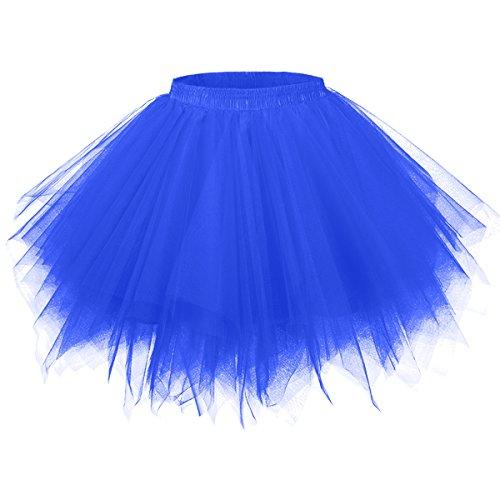 GirstunmBrand Damen 50er Vintage Tüllrock Petticoat Mehrfarbig Bubble Tanzkleid Rock Königsblau-S/M