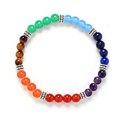YAZILIND 7 Chakra Reiki Healing Pulsera de Yoga de Piedra Natural 6mm Pulseras elásticas de Cuerda Trenzada de Piedras Preciosas (# 2)