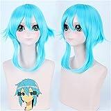 Peluca azul hielo Sword Art Online Cosplay peluca Sinon / Asada Shino disfraz jugar pelucas Halloween fiesta Anime juego pelo Perucas