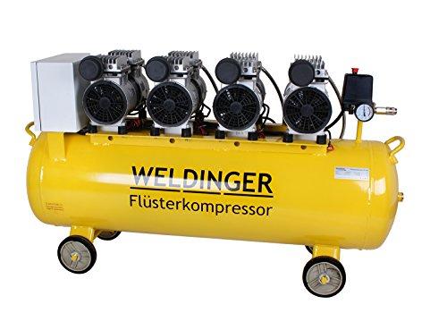 WELDINGER Flüsterkompressor FK 360 Ansaugleistung 360 Liter/min Tank 90 Liter Druckluftkompressor ölfrei leise (60 dB)