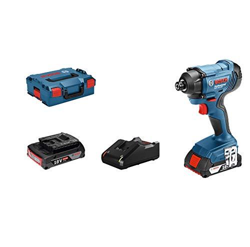 System profesjonalny 18 V firmy Bosch: akumulatorowy klucz udarowy GDR 18V-160 (maks. mom. obr.: 160 Nm, śruby M6–M14, uchwyt z wpustem sześciokątnym 1/4, 2 akum. 2,0 Ah i ładowarka, walizka L-BOXX)