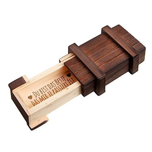 Casa Vivente Magische Geschenkbox mit Gravur, Du bist das Beste, Puzzle-Box dunkel, Schmuckkästchen aus Holz
