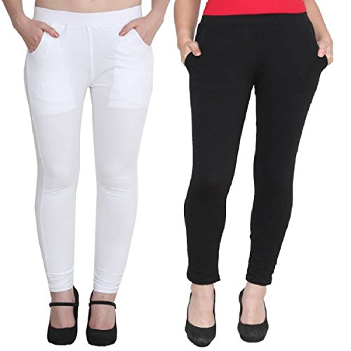 ALISHAH Cotton Lycra Ankel Length Leggings with Side Pockets Black and White,Pack of 2