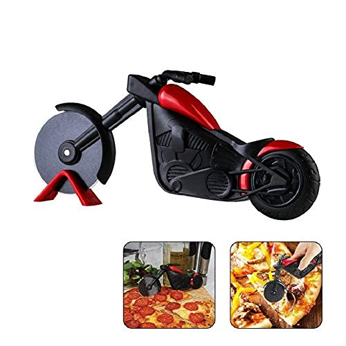 Pizzaschneider Motorrad, Kreatives Edelstahl Pizzaroller, Edelstahl Pizza Schneider für Pizzaparty Exquisite Küche Geschenk