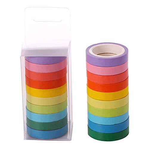 GTTYU 10 Rollen van kleur DIY Set Box Candy Kleur Effen Kleur Schattig Eenvoudig te Scheuren en Papier Regenboog Office benodigdheden Tape MC