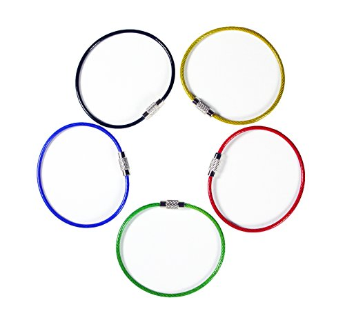 20pack Colored Nylon Coated Stainless Steel Wire Keychains 2mm 6.3 Inches Aircraft Cable Key Ring Loops for Hanging Luggage Tags or ID Tags