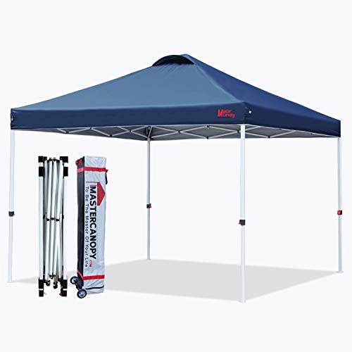 MASTERCANOPY Pop-up Canopy Tent Commercial Instant Canopy with Wheeled Bag,Canopy Sandbags x4,Tent Stakesx4 (12'x12',Navy Blue)
