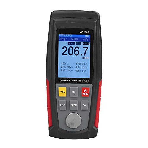 WT100A Ultraschall Dickenmessgerät, USB Ladegerät Digitales Ultraschall Dickenmessgerät für Metall, Kunststoff, Keramik, Glas