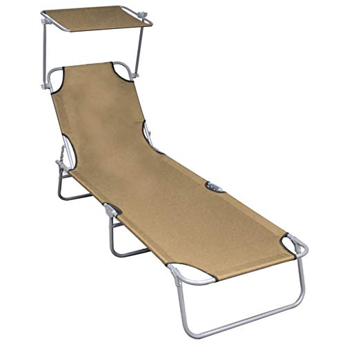 vidaXL Sun Lounger with Canopy,Outdoor Folding Adjustable Reclining Chairs Pool Side Using Lawn Lounge Chair, Folding Recliner for Deck,Patio,Beach,Yard,Taupe,74.2' x 22.6' x 10.6'