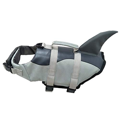 FAKEME Polyester Dog, Safety Pet Flotation Life Vest w/Handle, Adjustable Puppy Lifesaver Swimsuit Preserver for Small Medium Large Dogs - Silver_L