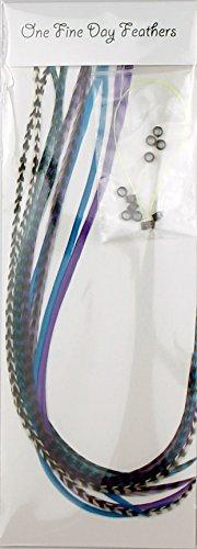 Extensions de cheveux avec plumes + Lot de 10 anneaux/Boucle
