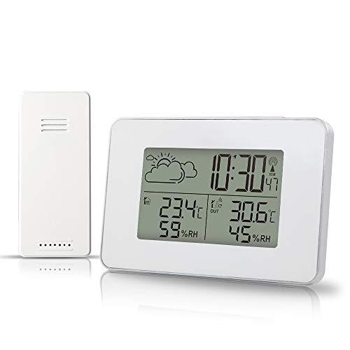 azorex Estación Meteorológica Termómetro Higrometro Digital Interior y Exterior con Sensor Inalámbrico Termometro Ambiental Monitor de Temperatura y Humedad Pronóstico Tiempo Hora Local Despertador