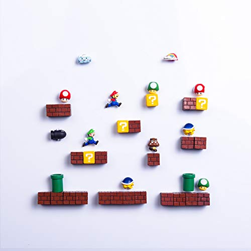 39 PCs 3D Super Mario Fridge Magnets Christmas Magnets Whiteboard Magnets 39 Full Combo Resin Cute & Fun Refrigerator Magnets Perfect for Ornaments Decoration collectionism