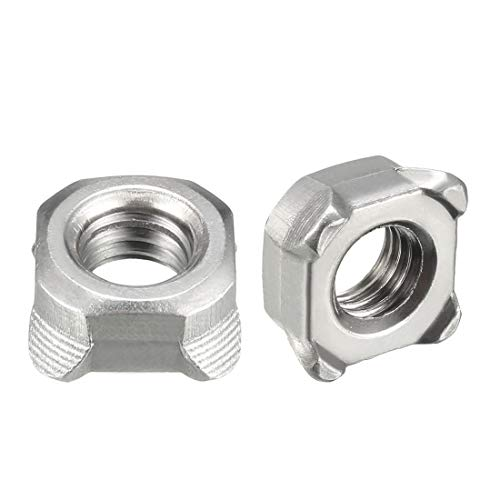 uxcell Weld Nuts,M8 Square UNC Coarse Carbon Steel Machine Screw Silver Pack of 20