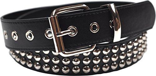 3 konischer Nietengürtel, gebundenes Leder, schwarz, groß (91 cm - 102 cm)
