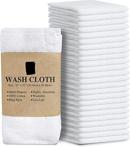 "SimpliMagic Cotton Washcloths White 40 Pack Size: 12""x12"""