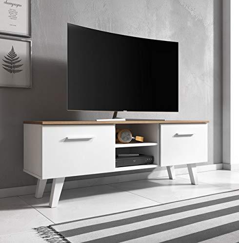 WFL GROUP Mobile TV Stile Scandinavo - Style Hygge - Color Legno - 140 cm - per TV Fino a 55
