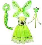 Tante Tina Disfraz de mariposa de hada para niña, 4 piezas, con vestido de tul, alas, varita mágica y diadema – verde – adecuado para niños de 2 a 8 años