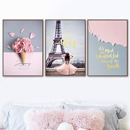 Torre De Paris Cuadros Rosado Rose Flor Niña Daisy Lienzo Pintura Posters Nórdicos E Impresiones Cuadros Salon Decoración A2 42x60cmx3 Sin Marco