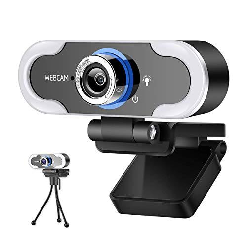 Hogdseirrs Webcam con micrófono y anillo de luz de 1080P con trípode para PC/Mac/portátil/Escritorio, USB Webcam Streaming Cam Streaming Plug and Play, llena de luz, para YouTube, Zoom, OBS, vídeo