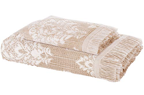 Juego de 2 toallas de ARDENZA   New Profundidad estructura 2020   Alta absorción   400 g/m²   Estilo barocco Versailles   de 100% algodón con flecos (beige, 1 x 48x90cm, 1 x 70x140cm)