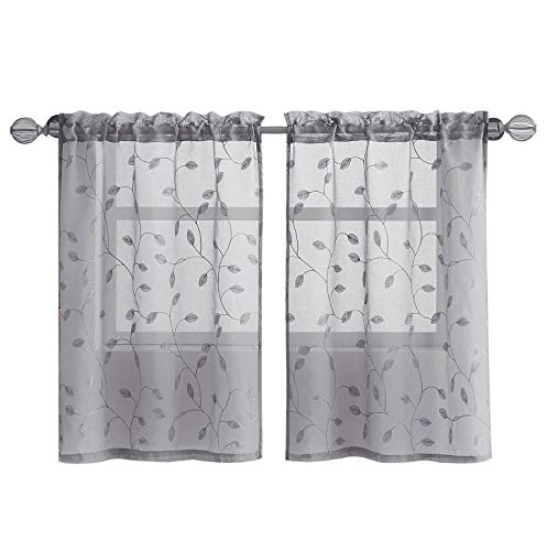 """Fragrantex Grey Botanical Small Curtains for Kitchen/Cafe Linen Sheer Tiers 24 inches Long Floral Embroidery Leaf Window Draperies for Dining Room,Rod Pocket 2 Panels,28"""" Wx24 L"""