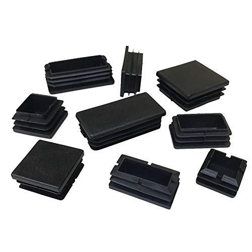 4 tapones rectangulares de plástico acanalado, tapas de extremo de tubo rectangulares.