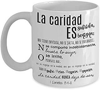 Tazas religiosas, regalos cristianos para hombre mujer pastores mama papa, Religious mugs in Spanish, La caridad nunca deja de ser 1 Corintios 13 4-8,