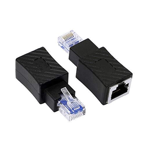 RIIEYOCA - Adaptador de Ethernet recto, RJ45, macho a hembra, conector LAN Cat6, para ordenador, portátil, router (2 unidades)