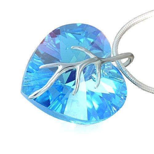 LillyMarie Zilveren halsketting voor dames, 925 zilver, met Swarovski Elements, hartje, lichtblauw, in lengte verstelbaar, cadeaubox voor beste vriendin