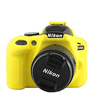 D3400 Silicone Case TUYUNG Texture Camera Housing Shell Case Protective Cover Compatible with Nikon D3400 Cameras Yellow