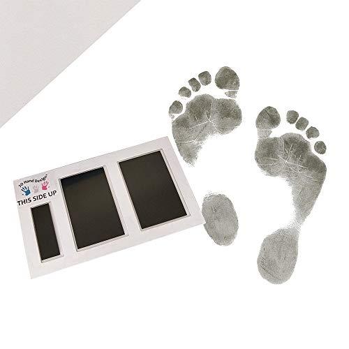 3D Hand Design Set voor Voetafdruk| zwart | voor pasgeborenen & baby's tot 3 maanden op elk papier | Magic Footprint Standard (Papierkleur: grijs, voor maximaal 16 afdrukken)