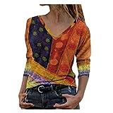 Blusa de manga larga con cuello en V para mujer, camiseta causal, túnica de moda, naranja, L